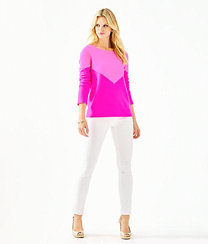 Brigitte Cashmere Sweater, Acai Berry Chevron Color Block, large 2