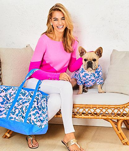 Brigitte Cashmere Sweater, Acai Berry Chevron Color Block, large 4