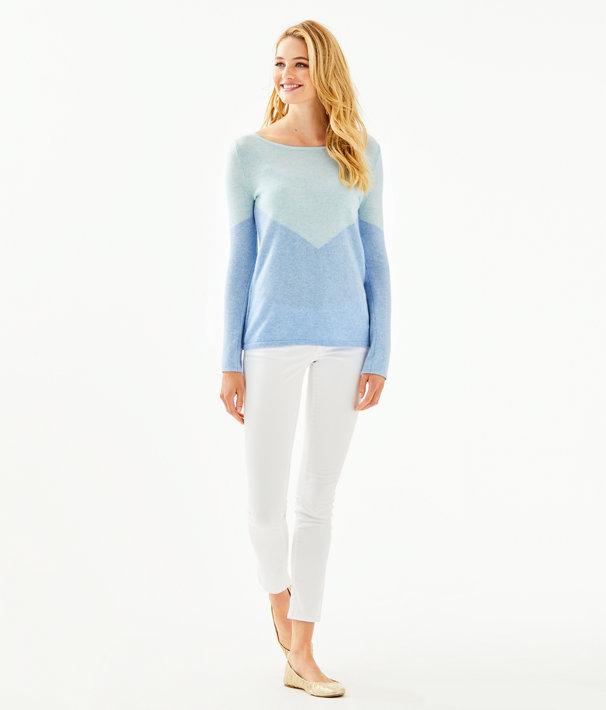 Brigitte Cashmere Sweater, Heathered Bennet Blue Chevron Color Block, large