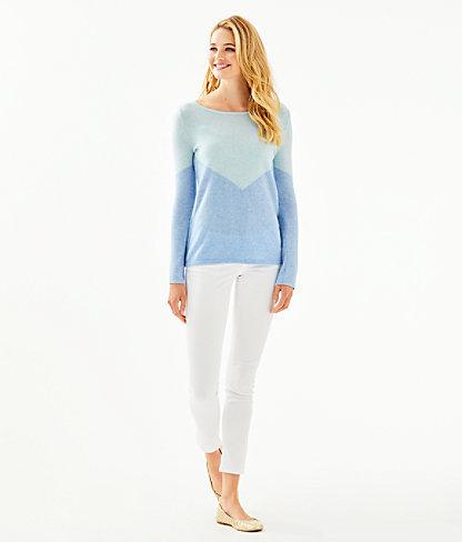 Brigitte Cashmere Sweater, Heathered Bennet Blue Chevron Color Block, large 2