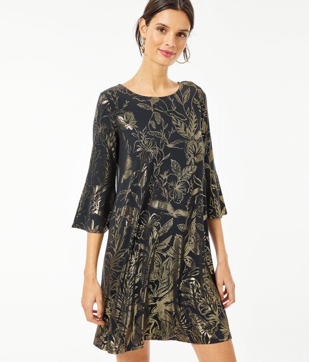 Ophelia Metallic Swing Dress, Gold Metallic Kiskadee Villa Engineered Dress, large