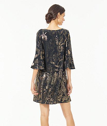 Ophelia Metallic Swing Dress, Gold Metallic Kiskadee Villa Engineered Dress, large 1