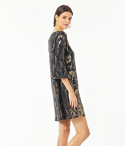 Ophelia Metallic Swing Dress, Gold Metallic Kiskadee Villa Engineered Dress, large 2