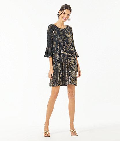 Ophelia Metallic Swing Dress, Gold Metallic Kiskadee Villa Engineered Dress, large 3
