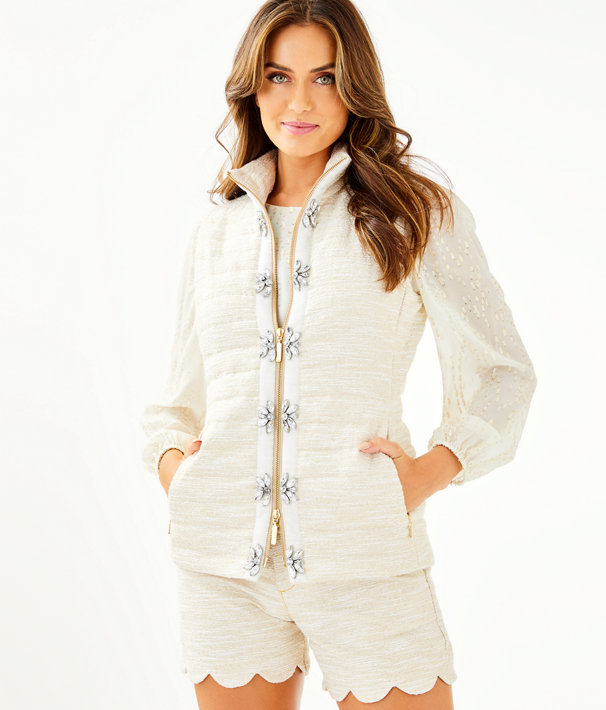 Noella Puffer Vest, Gold Metallic Resort Boucle, large