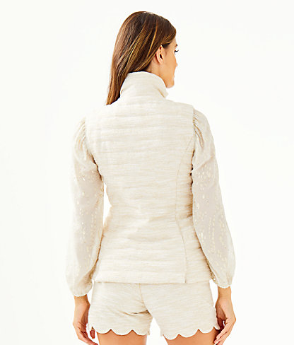 Noella Puffer Vest, Gold Metallic Resort Boucle, large 1