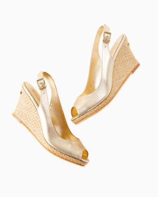Gigi Wedge, Gold Metallic, large