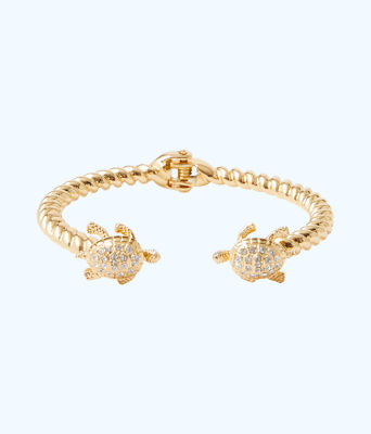Glam Turtle Bracelet, Gold Metallic, large 0
