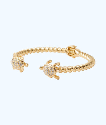 Glam Turtle Bracelet, Gold Metallic, large