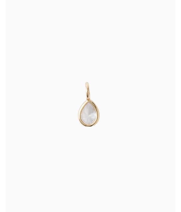 Birthstone Custom Charm, April X Crystal, large