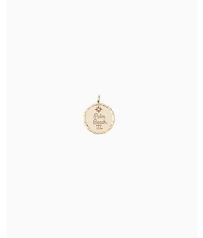 Lilly Pulitzer Location Charm - Palm Beach In Gold Metallic