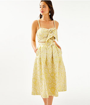 Dalsey Skirt Set, Gold Metallic Blooming Floral Brocade, large