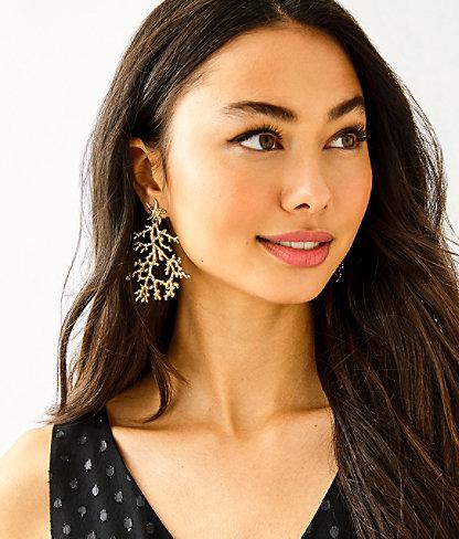 Cora Earrings, Gold Metallic, large 1