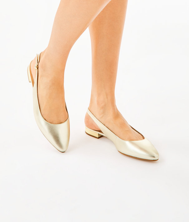 Ella Slingback Flats, Gold Metallic, large