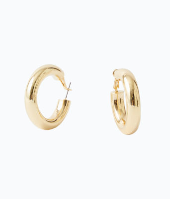 Maralago Hoop Earrings, Gold Metallic, large