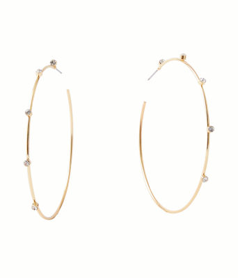 Under the Stars Hoop Earrings, Gold Metallic, large