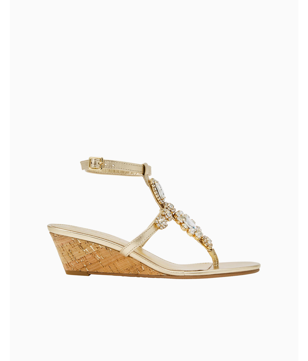 Lilly Pulitzer Katelyn Embellished Wedge In Gold Metallic