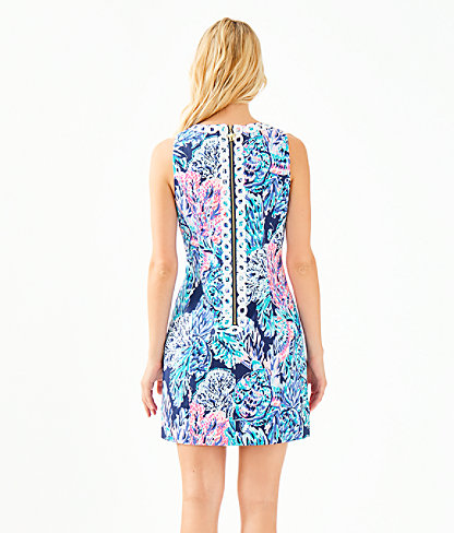 Mila Stretch Shift Dress, High Tide Navy Party In Paradise, large 1