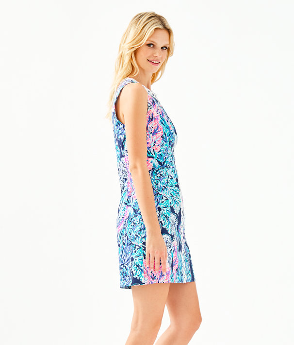 Mila Stretch Shift Dress, High Tide Navy Party In Paradise, large