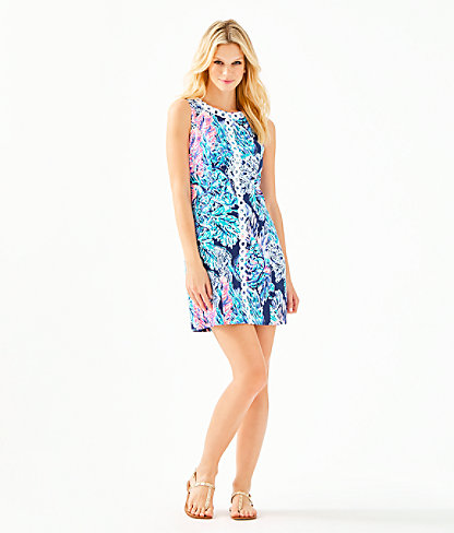 Mila Stretch Shift Dress, High Tide Navy Party In Paradise, large 3