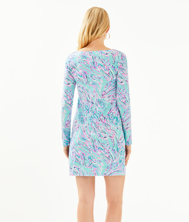 Long Sleeve Harper Shift Dress, Bayside Blue Under The Moon, large