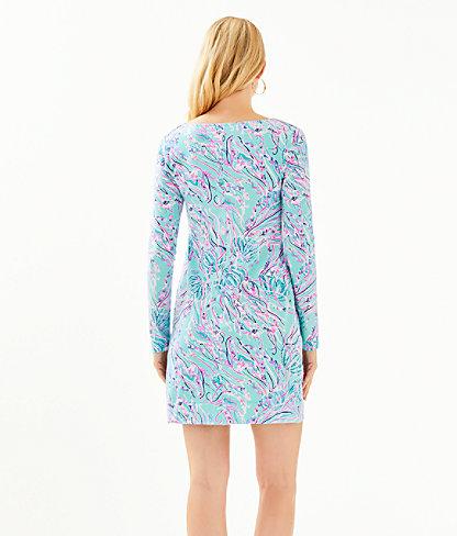 Long Sleeve Harper Shift Dress, Bayside Blue Under The Moon, large 1