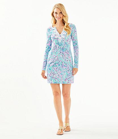 Long Sleeve Harper Shift Dress, Bayside Blue Under The Moon, large 3
