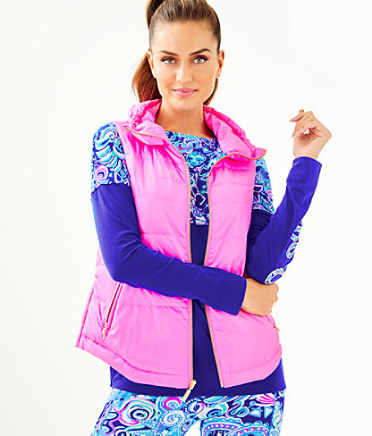 Palm Paradise Puffer Vest, Prosecco Pink, large 0