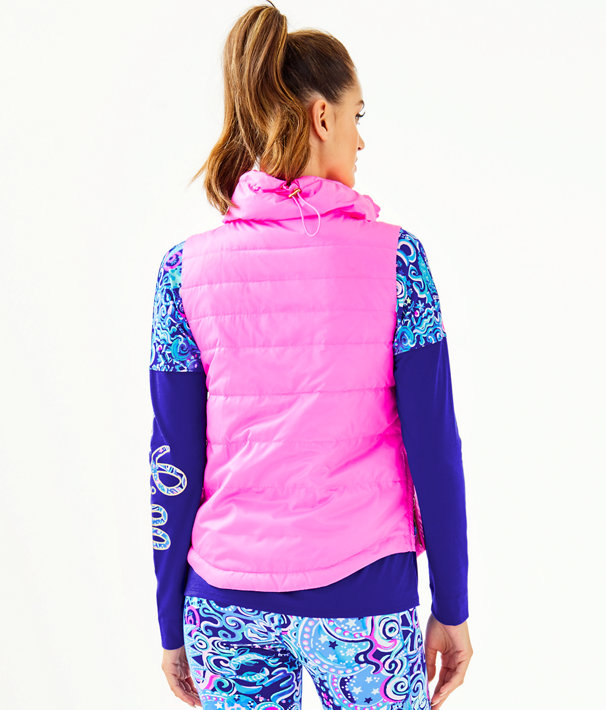 Palm Paradise Puffer Vest, Prosecco Pink, large