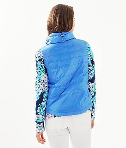 Palm Paradise Puffer Vest, Zanzibar Blue, large 1