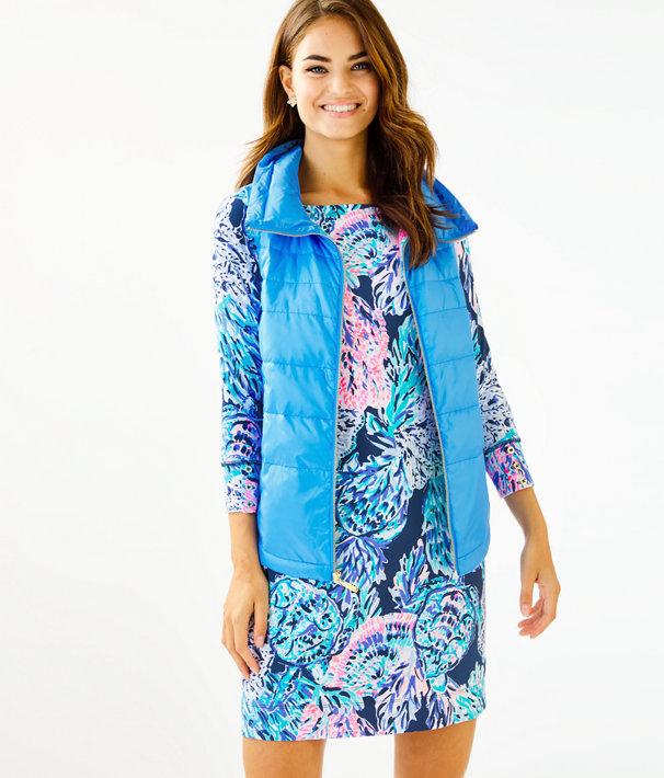 Palm Paradise Puffer Vest, Zanzibar Blue, large