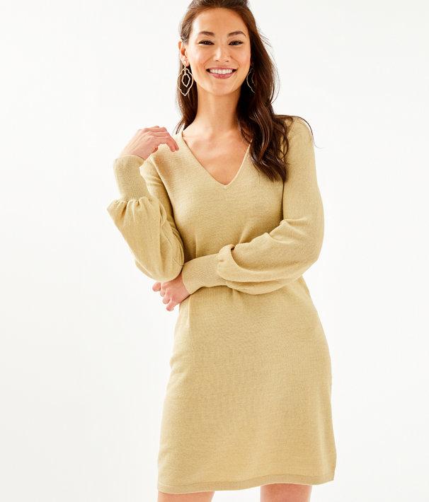Sariya Sweater Dress, Heathered Sand Bar Metallic, large