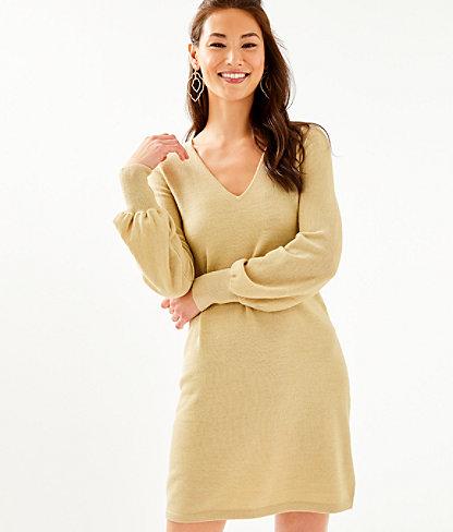 Sariya Sweater Dress, Heathered Sand Bar Metallic, large 0