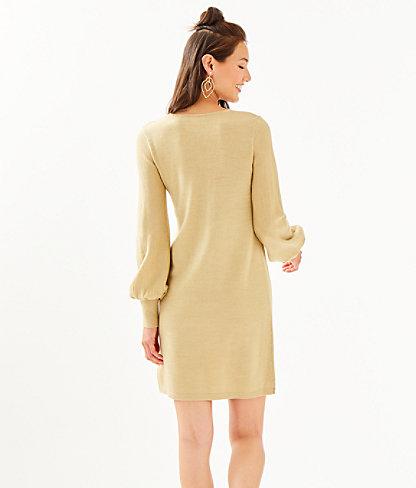 Sariya Sweater Dress, Heathered Sand Bar Metallic, large 1