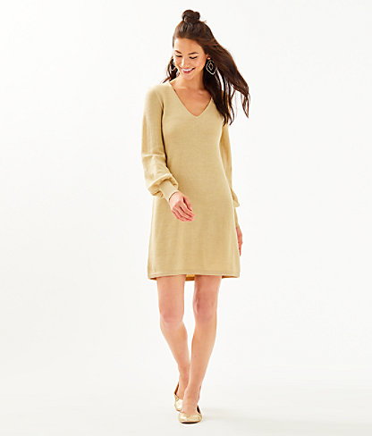 Sariya Sweater Dress, Heathered Sand Bar Metallic, large 3