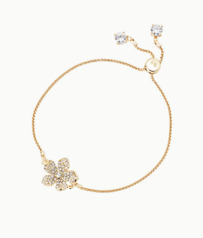 Beach Club Blooms Pull Tie Bracelet, Gold Metallic, large 0