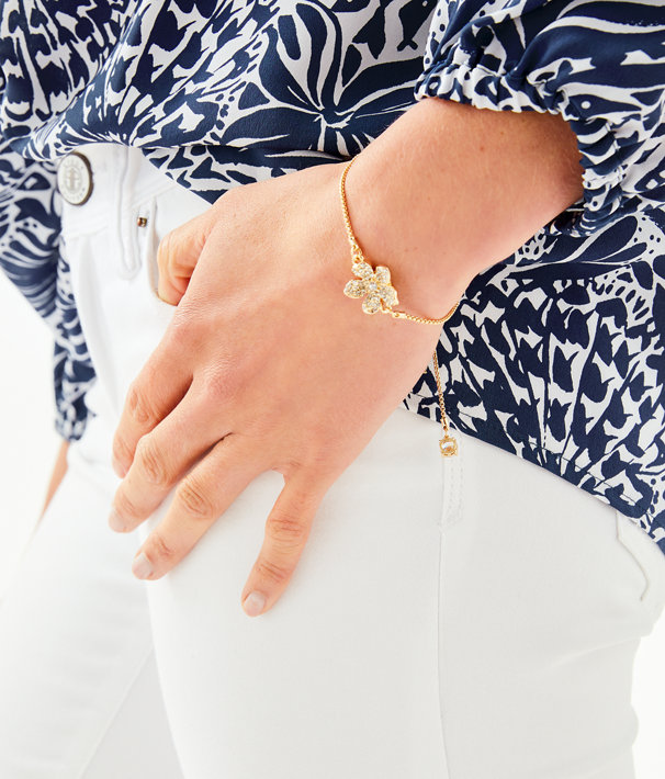 Beach Club Blooms Pull Tie Bracelet, Gold Metallic, large