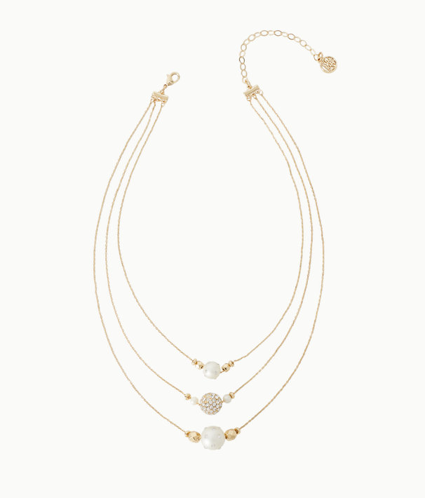 Cosmic Sky Layered Pearl Necklace, Resort White, large