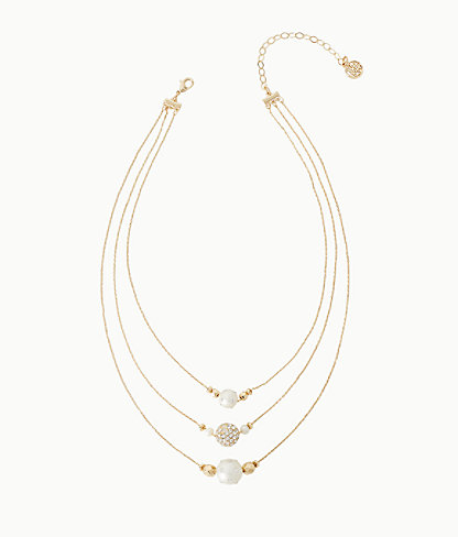 Cosmic Sky Layered Pearl Necklace, Resort White, large 0