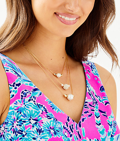 Cosmic Sky Layered Pearl Necklace, Resort White, large 1