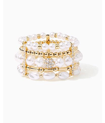 Kismet Pearl Stretch Bracelet, Resort White, large 0