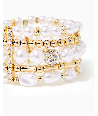 Kismet Pearl Stretch Bracelet, Resort White, large 1