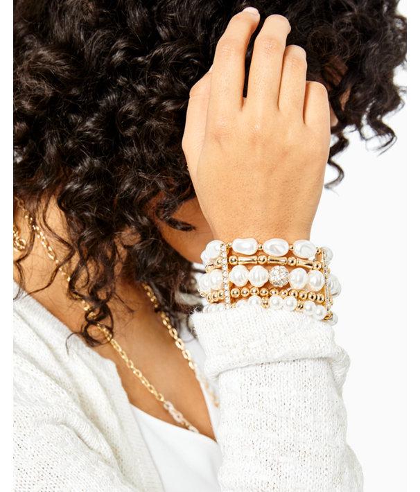 Kismet Pearl Stretch Bracelet, Resort White, large