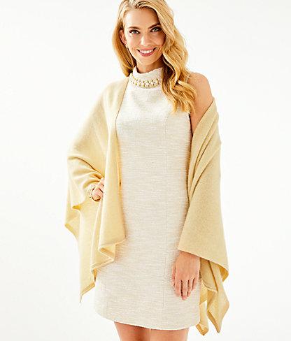 Terri Cashmere Wrap, Heathered Sand Bar Metallic, large 0