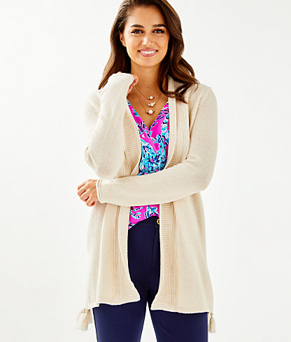 Ashwood Cardigan, Heathered Sandbank Metallic, large 0