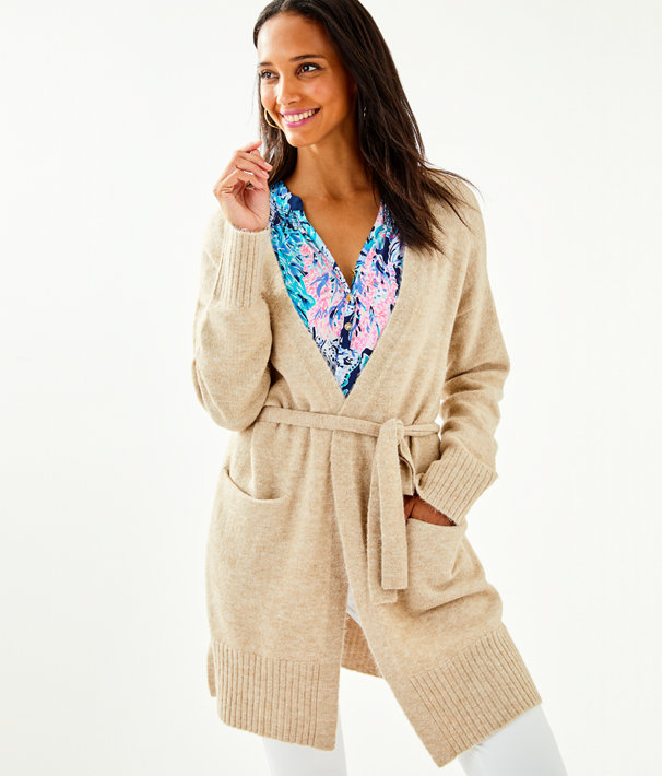 Macarthy Open Front Cardigan, Heathered Beach Tan, large