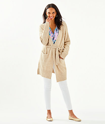 Macarthy Open Front Cardigan, Heathered Beach Tan, large 2