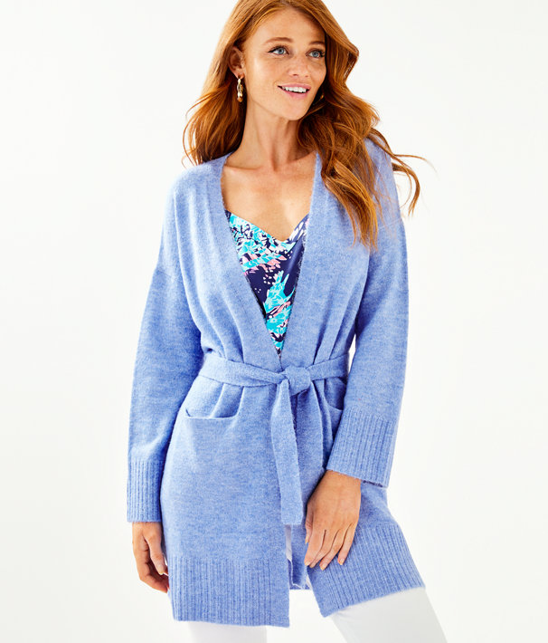 Macarthy Open Front Cardigan, Heathered Beckon Blue, large
