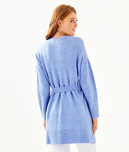 Macarthy Open Front Cardigan, Heathered Beckon Blue, large 1
