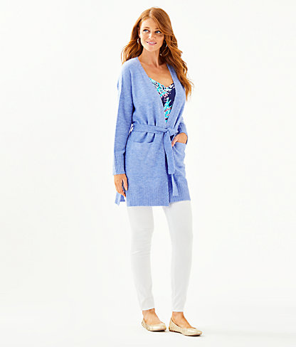 Macarthy Open Front Cardigan, Heathered Beckon Blue, large 2